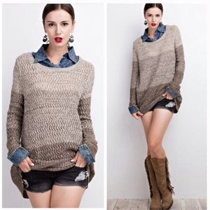 Sweaters - Denim Inlay Color Block Sweater - Brown